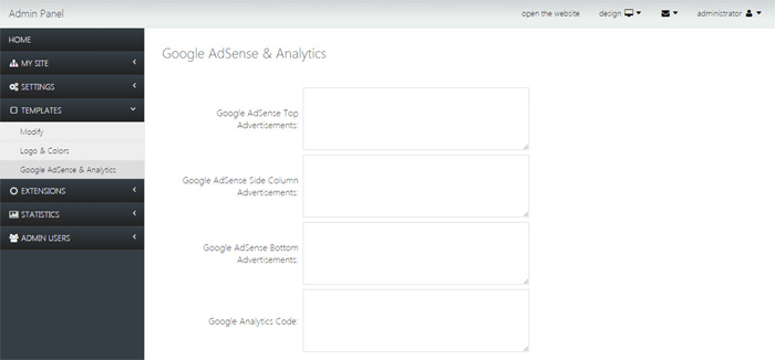 adding google adsense advertisements or google analytics tracking code job site php script